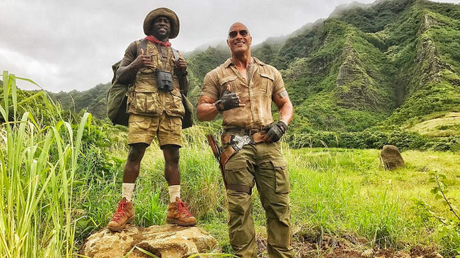 "The Rock and Kevin Hart are ""grateful"" to be filming 'Jumanji'"